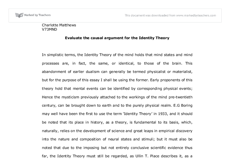 argumentive essay on mind brain identity theory Students can articulate the argument in a number of ways  outline mind-brain  type identity theory and explain how the issue of  some may consider the  relative merits of both formulations in the course of the essay): o.