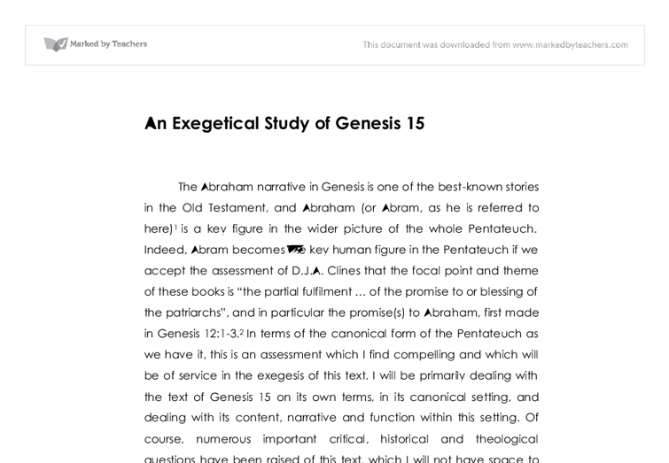 genesis 18 essay Clearly few things rile people up more than religion and politics these controversial topics fascinate and titillate the best of us including william h jennings, author of storms over genesis and professor of religion, emeritus, at muhlenberg college his investigative work into the.