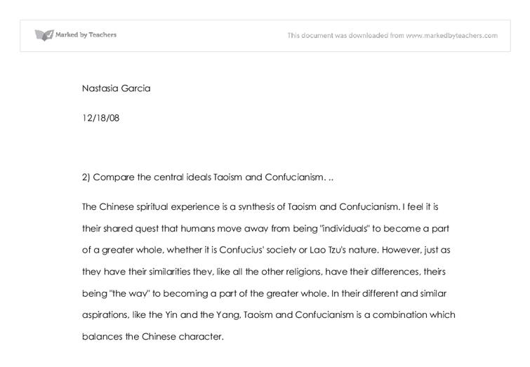 taoism revision essay Chinese culture (simplified chinese:  taoism is a religious or philosophical tradition of chinese origin which emphasizes living in harmony with the tao.