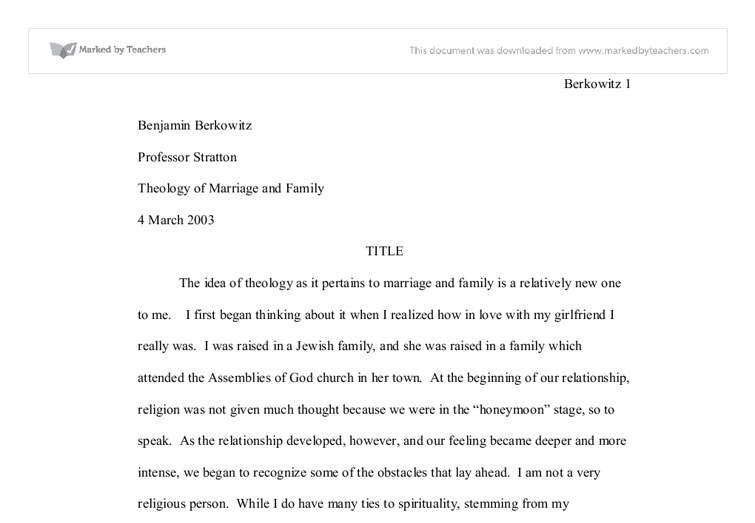 theology of marriage and family Full-text paper (pdf): st john chrysostom's theology of marriage and family.
