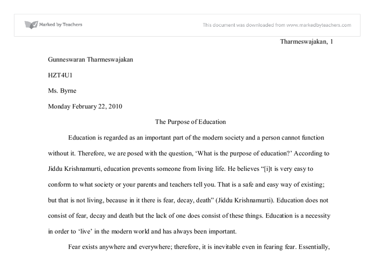 the purpose of education university historical and philosophical  document image preview