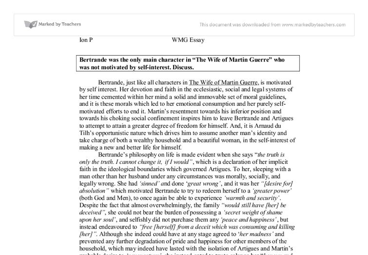 essay wife martin guerre 567 wife of martin guerre essay examples from trust writing service eliteessaywriterscom get more persuasive, argumentative wife of martin guerre essay samples and other research papers.