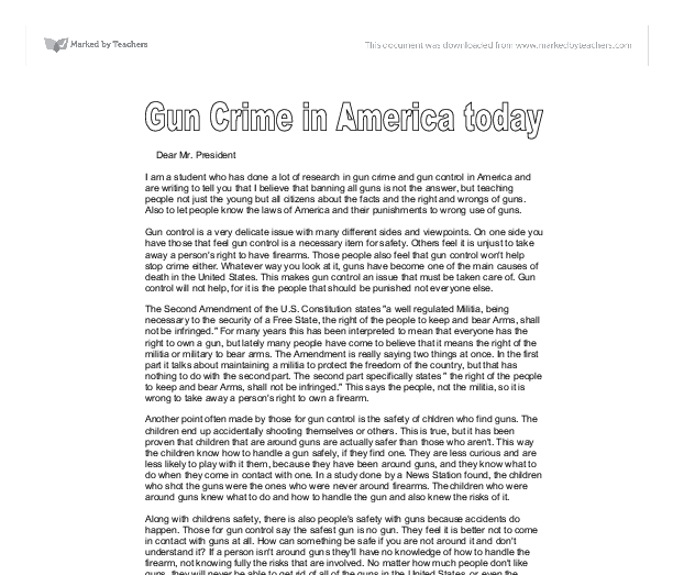 gun control in america essay Gun control is officially called regulation of firearms and it refers to all laws related to the use of arms on a territory these ones are related to several aspects like manufacture, sale, transfer, possession, modification and use of guns.