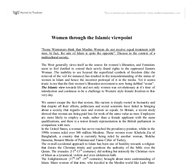 muslim women do not receive equal treatment with men essay Islam and women from wikiislam, the  or is this 'equal treatment' in conflict with sacred directives  thus men and women are not advised to stay in the same.