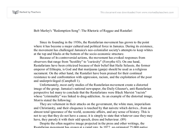 bob marley's spiritual rhetoric the spread Bob marley's spiritual rhetoric, the spread of jamaican culture and  rastafarianism by mark haner senior seminar: hst 499 professor john l  rector.