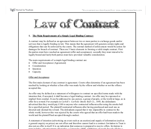 essay contract A contract is an agreement that is enforceable by law modern business could not exist without such contracts most business transactions involve commitments to.