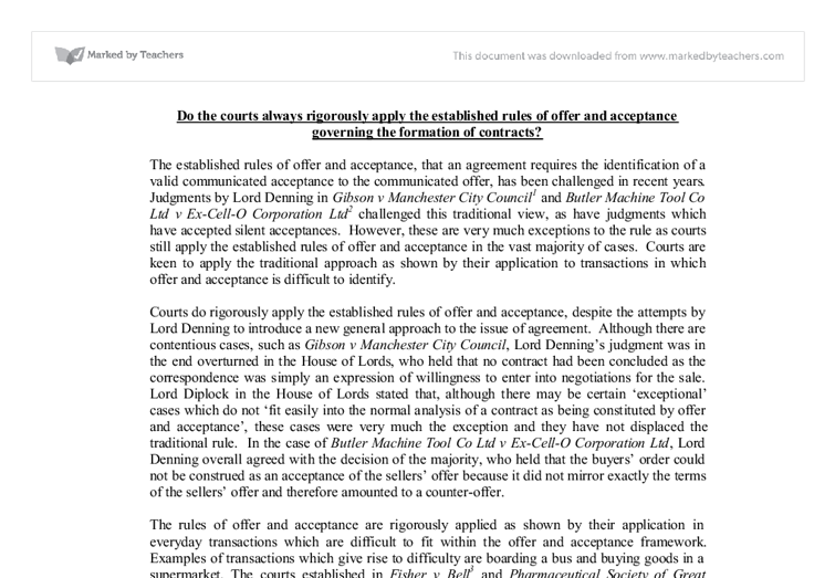 offer and acceptance in the courts essay With reference to the legal rules relating to offer and acceptance of a contract, advise the club whether it can claim the joining fee from mary.