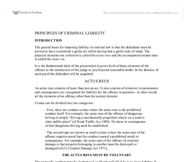 criminal liability essay Professional regulation and criminal liability paper (2009, november 19) in writeworkcom retrieved 16:55, november 15, 2017, from http://wwwwriteworkcom/essay.