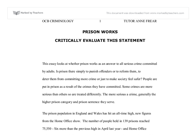 prison works critically evaluate this statement university document image preview