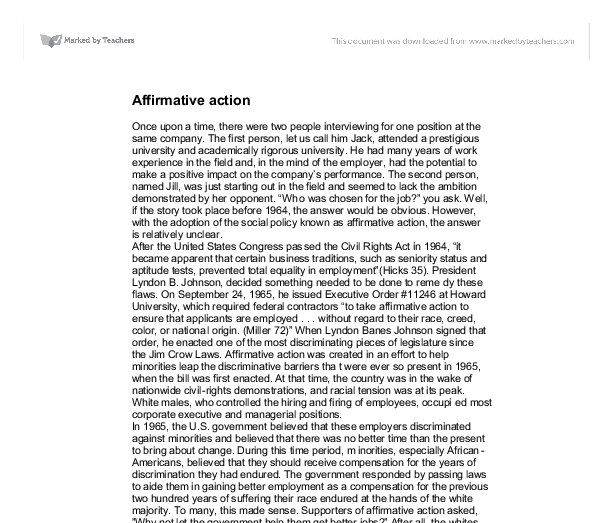 affirmative action in education essay