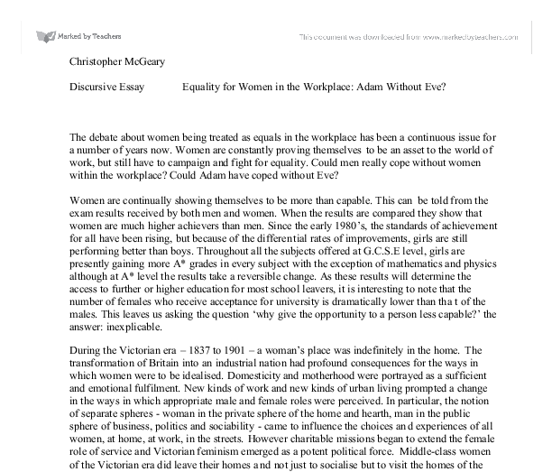 discursive essay equality for women in the workplace adam out document image preview