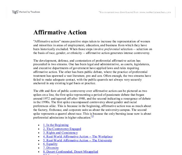 the many benefits of affirmative action essay