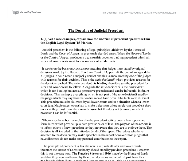 The Doctrine of Judicial Precedent  - University Law