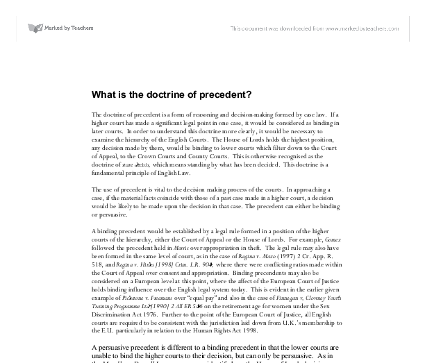 essay on precedent An outline of the operation of the doctrine of precedent explaining the concepts of stare decisis, ratio decidendi, obiter dicta, binding and persuasive precedents, the hierarchy of the courts, overruling and distinguishing.