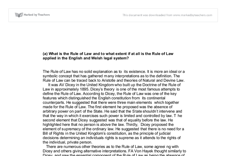 the rule of law essay Free essay: the rule of law the united kingdomis generally regarded as a country that has a tradition of respect for the rule of law in general terms this.