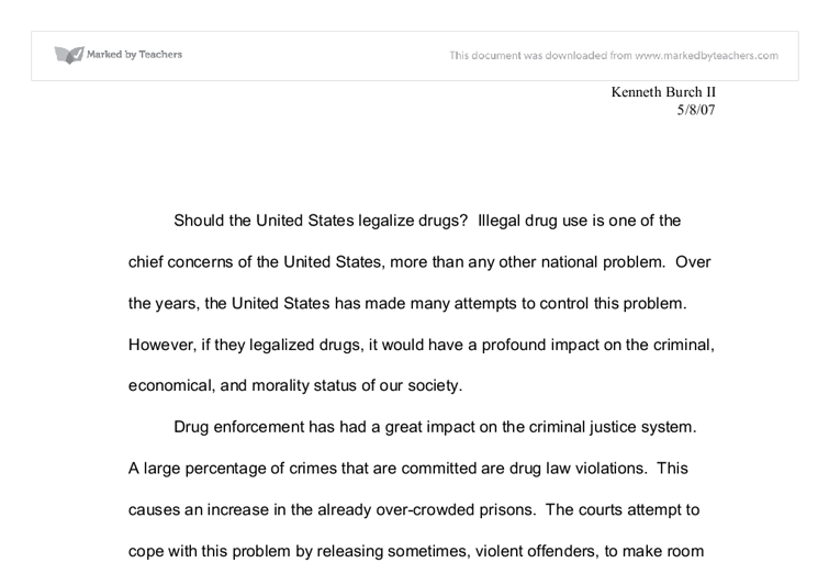An essay on the legalization of narcotics in the united states