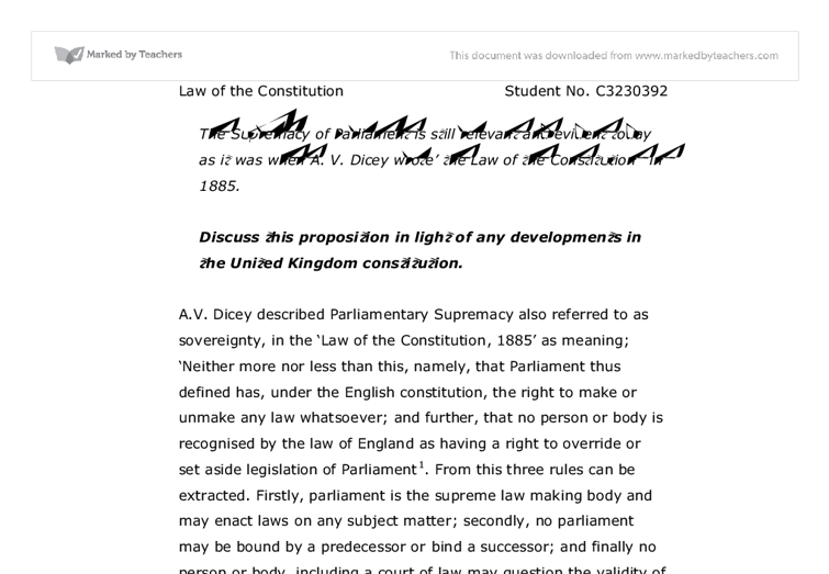 rule of law and parliamentary sovereignty essay Start studying parliamentary sovereignty is the most important can be seen to undermine other principles such as the rule of law parliamentary sovereignty.