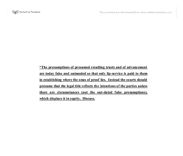 quistclose trust essay Quistclose trust and the requirements for its creation table of contents table of contents 2 definition of a quistclose trust 3 first issue: nature of the quist.