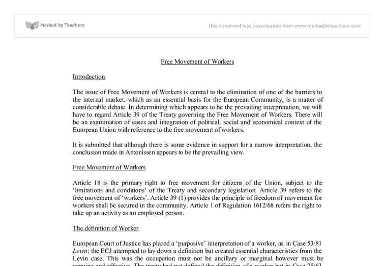 Free movement of workers eu law essay