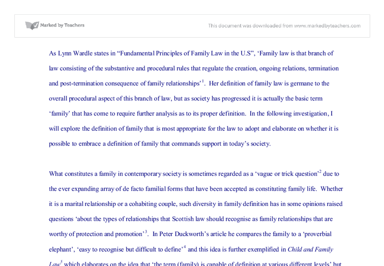 Family law  - University Law - Marked by Teachers com