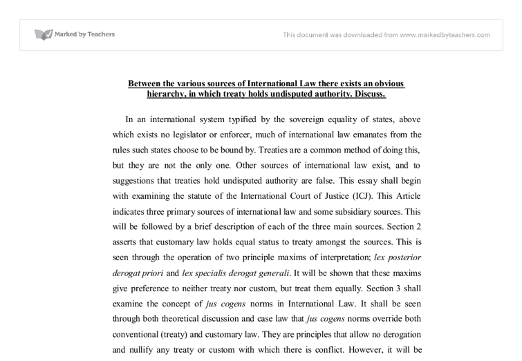 essay sources international law International law has emerged which in turn are important sources of law september 2003.