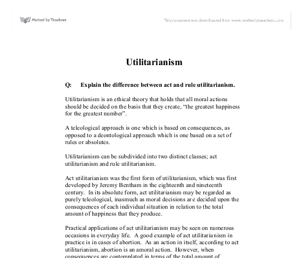 Explain The Difference Between Act And Rule Utilitarianism