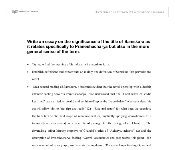 write an essay on the significance of the title of samskara as it  document image preview