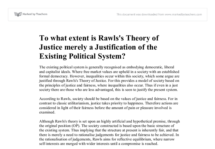 essay on rawls justice as fairness