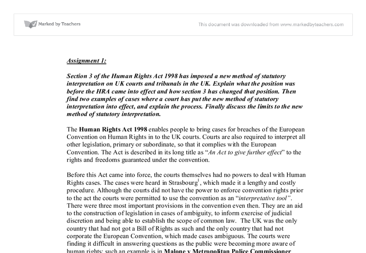'the hra 1998 is being used This article explores the impact of the human rights act (hra) 1998 on the act 1998 on policing in england and wales is being used to describe.