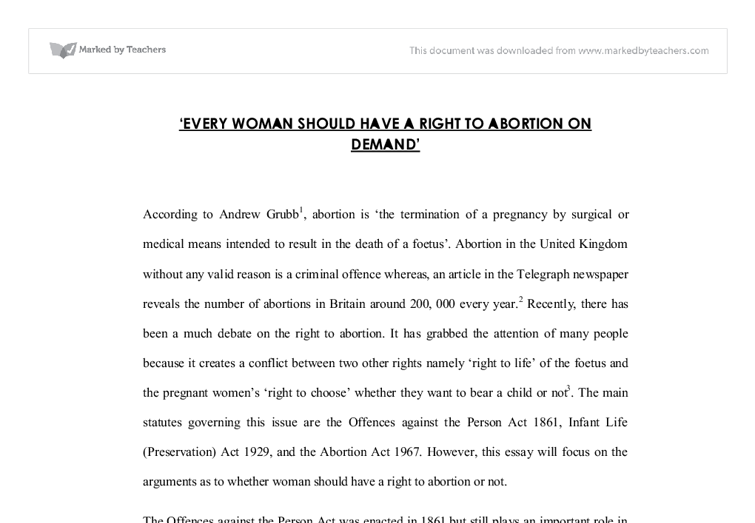 is abortion a right essay