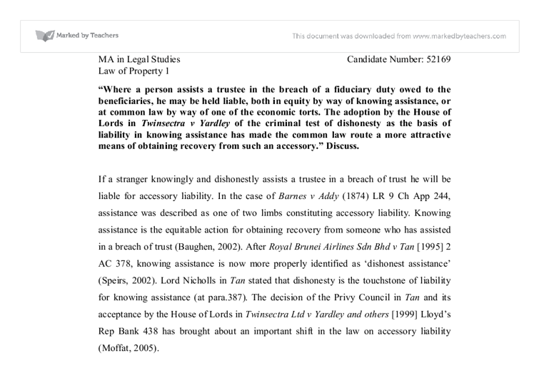 fiduciary duty essay The common law assembly including tort, contract and unjust enrichment provide several remedies for a breach of an obligation or duty this paper examines how the laws relating to fiduciary duties demand specific attention and discusses why they should be placed under a separate sub-category of the law.