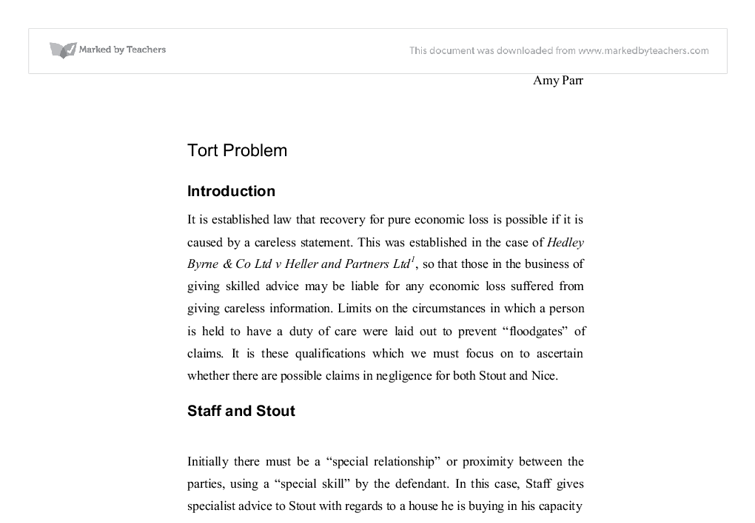 Tort Laws Claim Essay or dissertation Small sample
