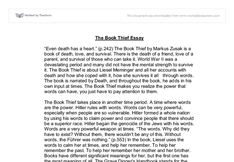 essays on the book thief