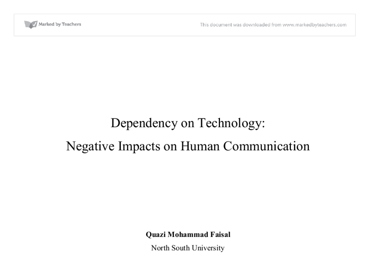 dependency on technology negative impact on human communication  document image preview