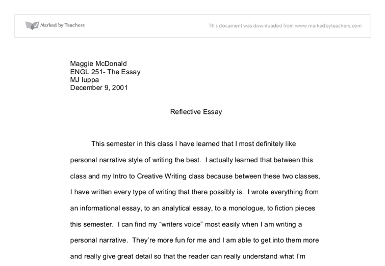 reflective essay on english class self reflective essay writing – Reflective Essay