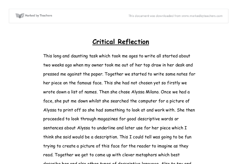 Critical Reflective Essay Wwwgxartorg Reflection English Essay Examples  Classtho Savour The Flavour Of Critical Reflection Of