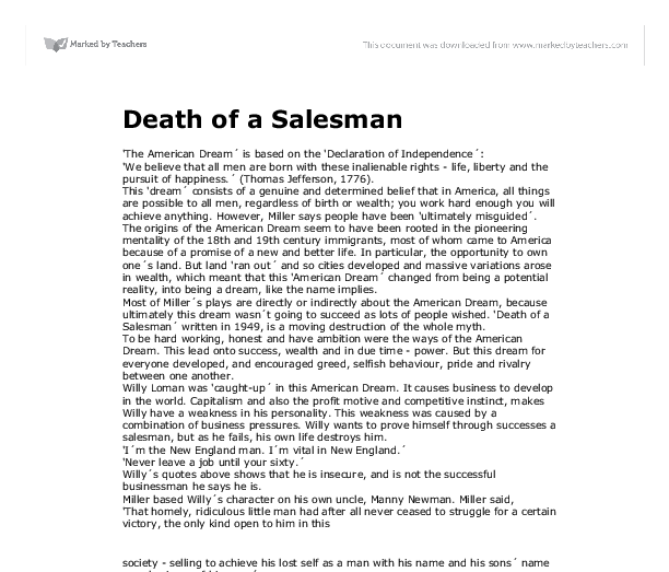 a literary analysis of american dream by willy loman Nothing more than a dream: death of a salesman analysis at the american dream willy loman in death of a salesman is one of the most american literature.