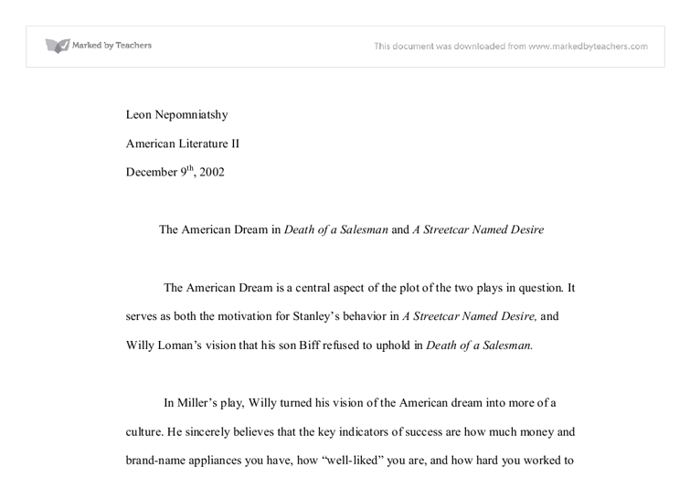 essays on death of a salesman and the american dream