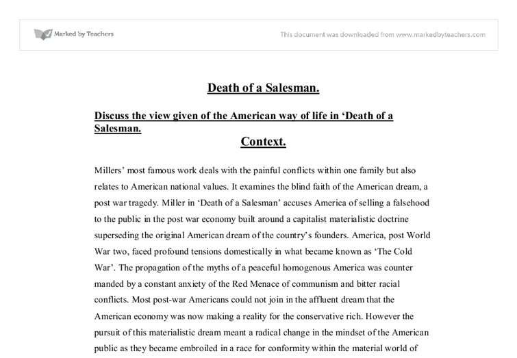 discuss the view given of the american way of life in death of a  document image preview