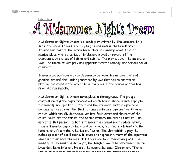 Shakespeare midsummer night dream essay