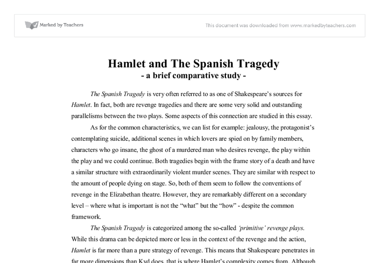 an analysis of shakespeares tragedy hamlet Using the term 'tragedy' about shakespeare's plays invites attempts to fit them to the aristotelian pattern  hamlet in modern english: act 1, scene 1 hamlet in.