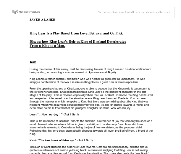 king lear cordelia key quotes essay