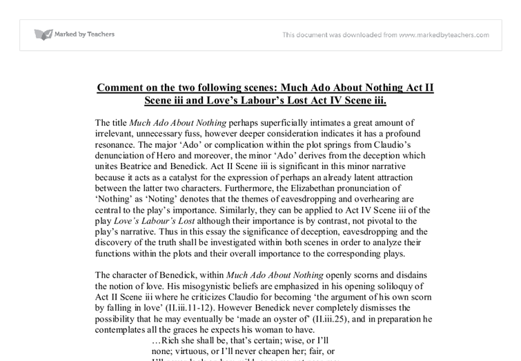 essay on much ado about nothing love
