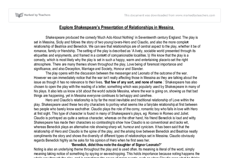 shakespeares presentation of contrast relationships essay Shakespeare's othello: animal imagery essay  after iago planted more lies about desdemona and her relationship  it shows contrast between characters .