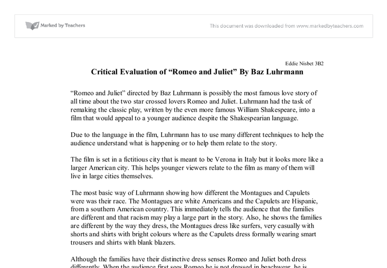 """Romeo and Juliet"" by Baz Luhrmann Essay Sample"