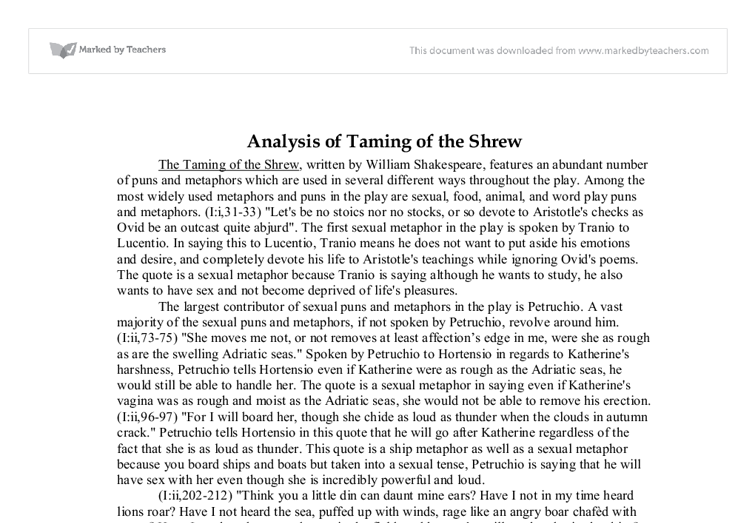 taming of the shrew character analysis english literature essay The taming of the shrew is a comedy by william shakespeare, believed to have  been written  thus, lucentio and hortensio, attempt to woo bianca while  pretending to be the tutors cambio and litio  35 literary examples, leading him  to conclude shakespeare's taming plot, which has not been traced successfully  in its.