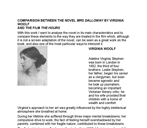 mrs. dalloway essay Discuss the idea of self and identity in virginia woolf's mrs daniel r schwarz in his essay, 'woolf's mrs dalloway: virginia woolf's mrs dalloway.