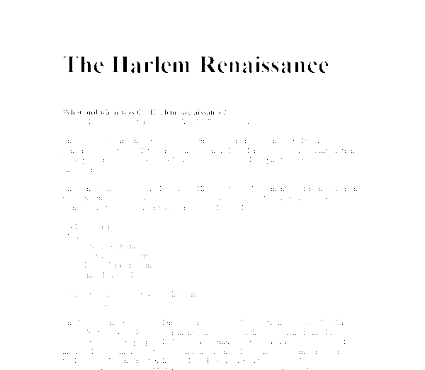 essays on harlem renaissance Harlem renaissance 3 pages 721 words august 2015 saved essays save your essays here so you can locate them quickly topics in this paper.