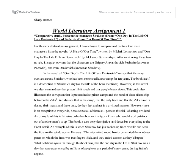 one day in the life of ivan denisovich english literature essay The theme of hope in one day in the life of ivan denisovich, free study guides and book notes including comprehensive chapter analysis, complete summary analysis, author biography information, character profiles, theme analysis, metaphor analysis, and top ten quotes on classic literature.