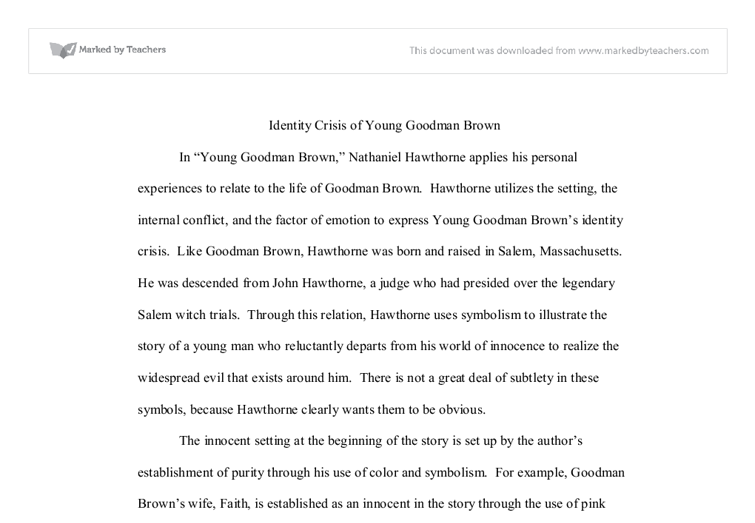 Young Goodman Brown University Linguistics Classics And Related